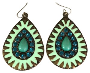 Boutique Blue Green Jeweled Earrings