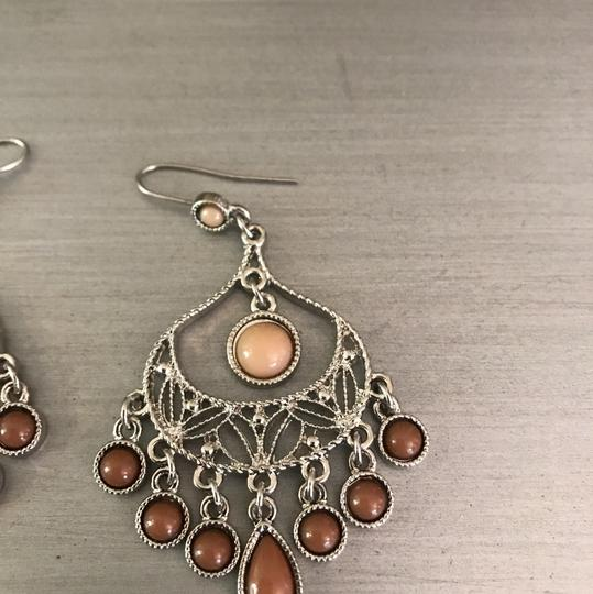 Boutique Brown Silver Chandelier Earrings Image 1
