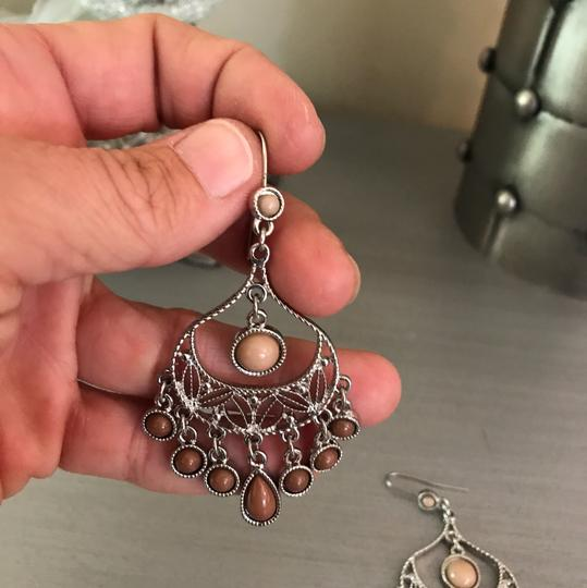 Boutique Brown Silver Chandelier Earrings Image 2