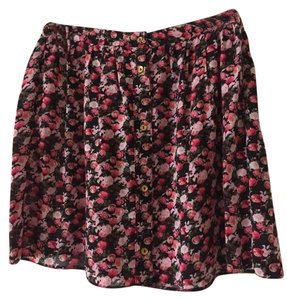 A Wear Floral Gold Hardware Flowy Night Out Mini Skirt Pink