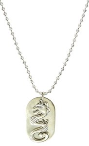 Dragon Dog Pendant Necklace * 14K White Gold Dragon Dog Tag Pendant Necklace.
