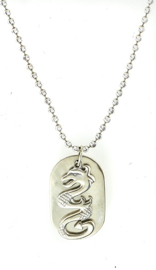 Dragon Dog Pendant Necklace * 14K White Gold Dragon Dog Tag Pendant Necklace. Image 3