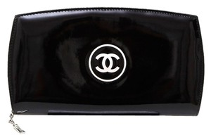 Chanel Chanel Black Patent Leather Clutch Wallet Bag Silver HW White CC DoPEEK!