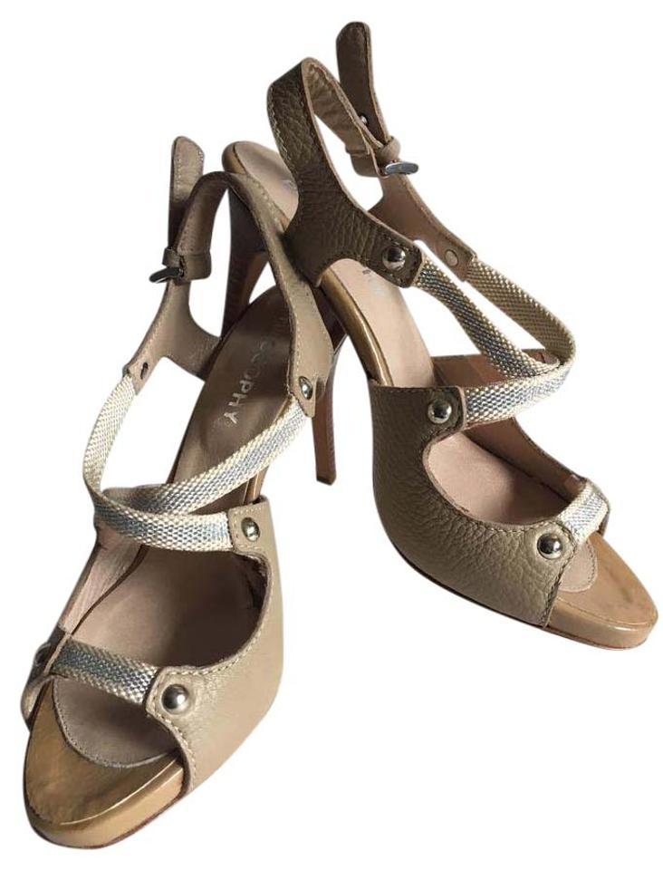 2387c88ae84 Philosophy di Alberta Ferretti Taupe Leather with Silver Accents High  Heeled Sandals