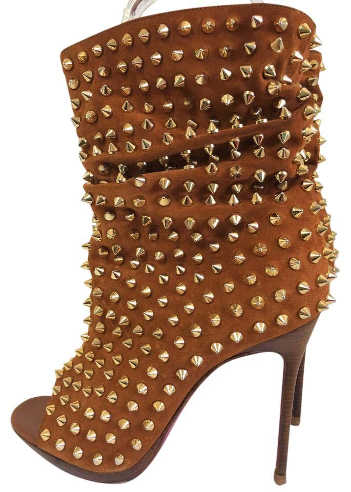 93fd3bfd24a Christian Louboutin Gold Spike Brown Guerilla 36it Suede High Heel Lady  Open Toe Red Sole Platform Ankle Boots/Booties Size EU 36 (Approx. US 6) ...