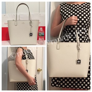 Kate Spade Large Zip Top Leather Navy Tote in White