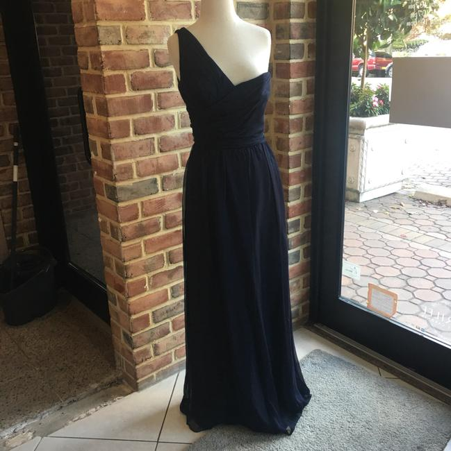 Item - Navy Crinkle Chiffon G659c Formal Bridesmaid/Mob Dress Size 6 (S)