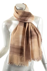 Eskandar ESKANDAR Brown/Tan Cashmere Blend Hand Painted Ombre Striped Scarf - 25