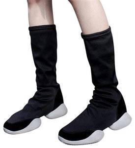 Knowlesandco black stretch sock boot black with grey rubber sole. Boots