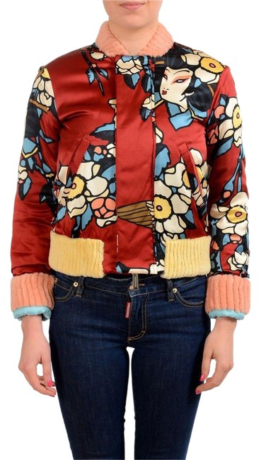 Item - Multi-color Silk Patterned Full Zip Basic Jacket Size 2 (XS)