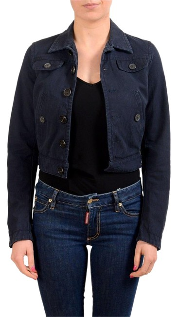 Item - Navy Button Down Cropped Women's Basic Jacket Size 4 (S)