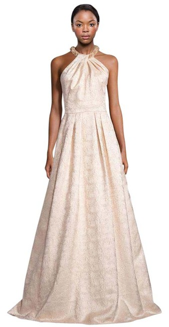 Item - Gold Cream Beaded Neck Jacquard Halter Evening Gown Long Formal Dress Size 10 (M)