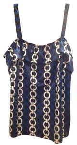 Ann Taylor LOFT D115 Cl400 C3511 S177793 Top Black, dark blue and white