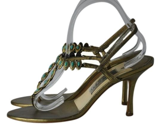 Jimmy Choo Turquoise Bead Thong Leather Size 40 Gold Tone Sandals