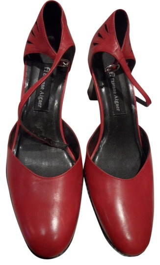 Etienne Aigner Chunky Heels All Leather Upper Round Toe Dress Casual Open Sides Red Pumps