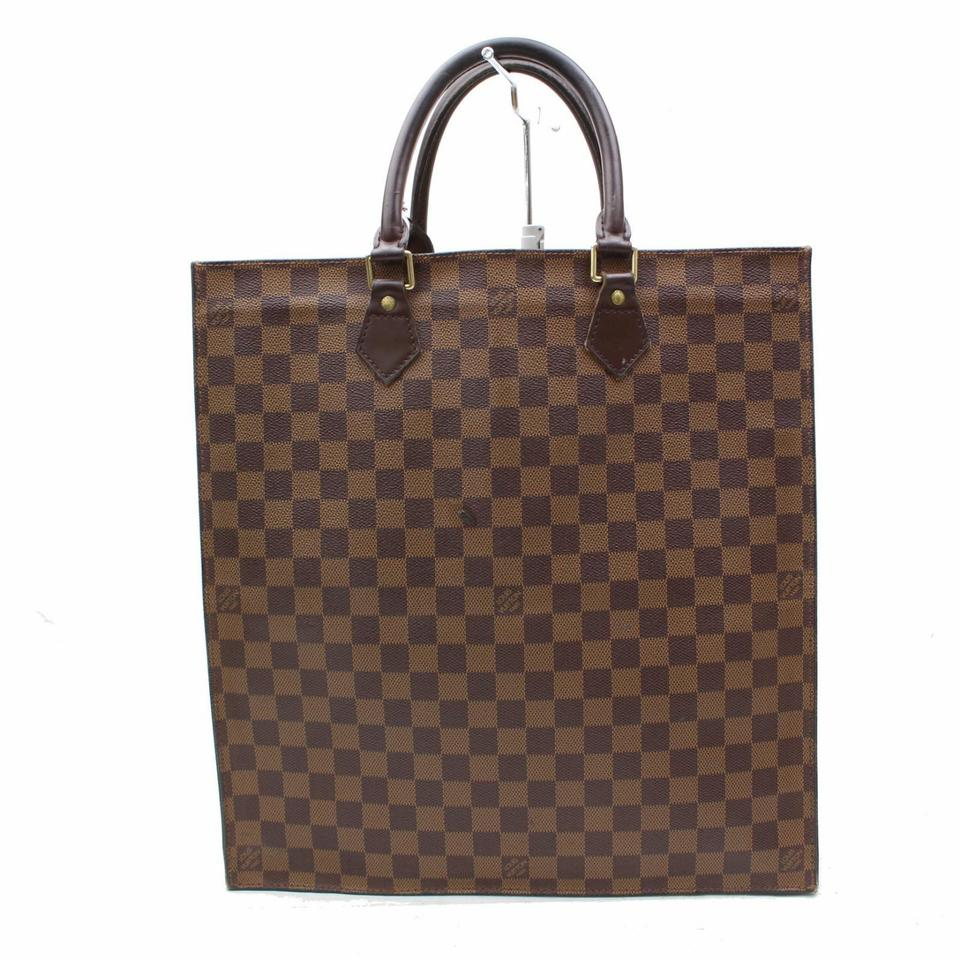 louis vuitton brown leather sac plat tote tradesy. Black Bedroom Furniture Sets. Home Design Ideas
