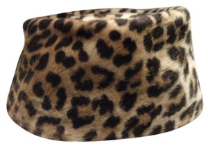 Bamberger's Vintage (pre 1986) faux Leopard pillbox hat