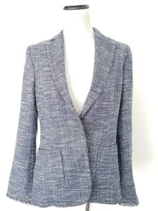 Les Copains Navy Tweed Fringe Blue and White Blazer