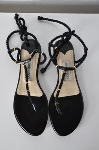 Jimmy Choo Leather Ankle Tie W Silk Rope Flat Thong Black Sandals