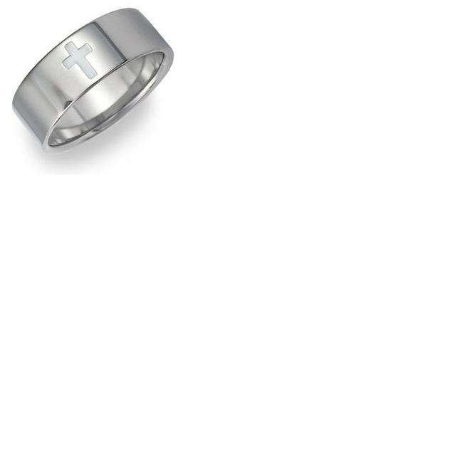 Item - Silver Titanium Cross (All Sizes) Men's Wedding Band