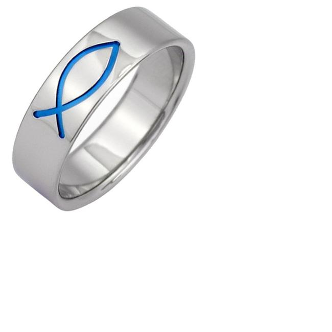 Item - Blue Ichthus Titanium (All Sizes) Men's Wedding Band