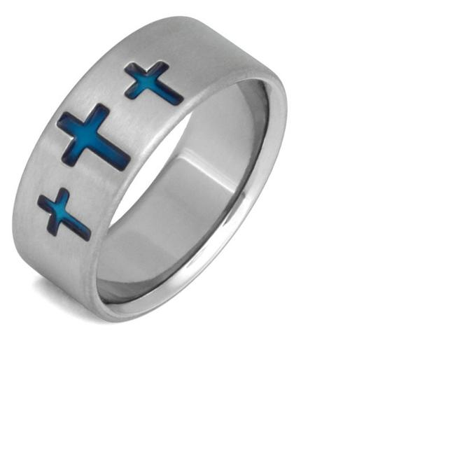 Item - Blue Cross Titanium Ring (All Sizes) Men's Wedding Band