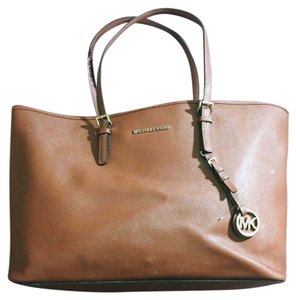 Michael Kors Computer Jet Set College Work Tote in Luggage Brown