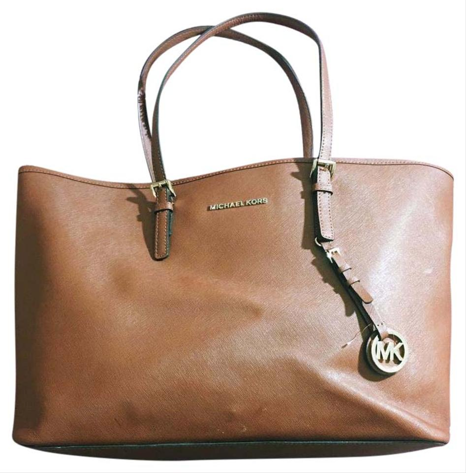 4877fed5b707 Michael Kors Computer Jet Set College Work Tote in Luggage Brown ...