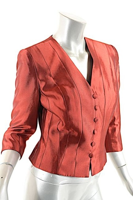 Carmen Marc Valvo Crop Ruby Red Jacket