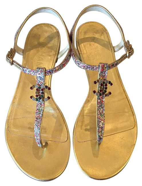 Item - Gold Multi-color 15p Multi-stone Cc and Thongs 39c Sandals Size US 9 Wide (C, D)