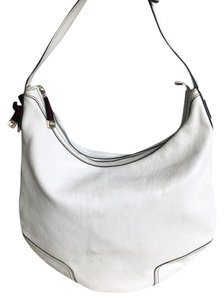 Gucci Leather Striped Bow Zipper Top Hobo Bag