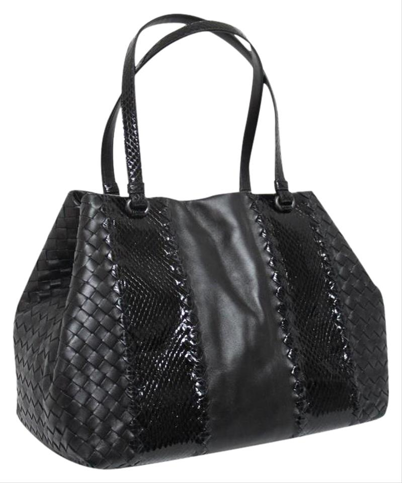 Bottega Veneta New Black Ayers Snake Intrecciato Grey Leather Tote ... 034189fd54de7