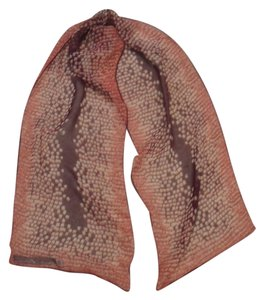AK Anne Klein Anne Klein silk oblong scarf in rust and brown with taupe and yellow accents