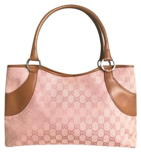 dc21835bc2a Gucci Shoulder Bag Web Brown Leather Pink Canvas Tote - Tradesy