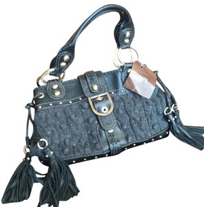 Rafe Leather Tassels Wool Detail Winter Tote in Black and Gray
