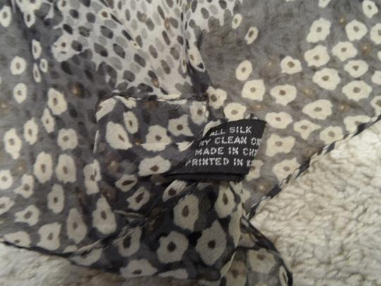 "Kenneth Cole Kenneth Cole 20"" square silk scarf in shades of grey with darker border with small floral and geometric patterns"