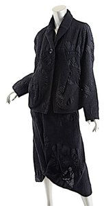 Crea CREA CONCEPT Black Wool Blend Puckered Skirt Suit - WONDERFUL - 42/US10 - NWT