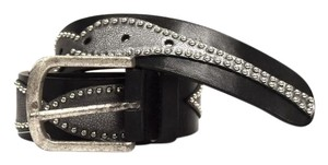 Streets Ahead STREETS AHEAD Black Grey Leather Studded Belt Sz M 280377