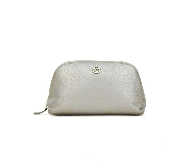 Item - Silver Toiletry Clutch Calf Leather Makeup Travel Cosmetic Bag