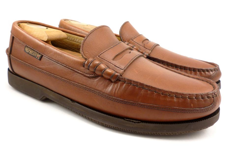 On Men's Mephisto Strap Slip Brown Loafers Shoes Leather 5wwq6Ir