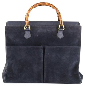 815dad406d52 Gucci Bamboo Handles Equestrian Accents Exterior Pockets Xl Two-way Style  Satchel in Navy