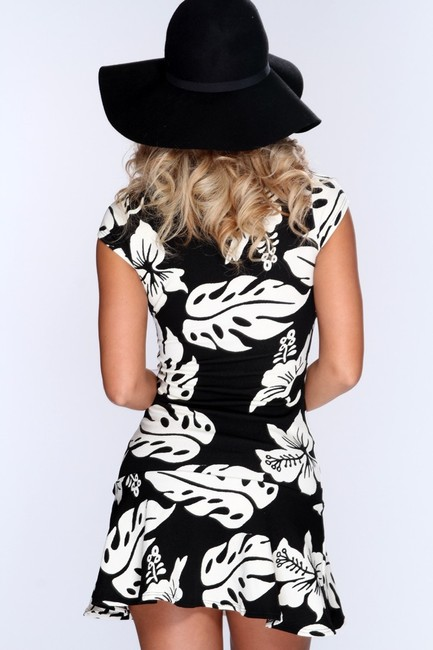 Other short dress Black/White A-line Capped Sleeves Dropped Waist Tropical Print on Tradesy