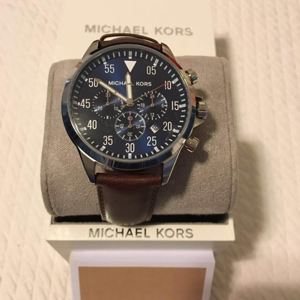 86fc7d75e3bf Michael Kors Men's Chronograph Gage Brown Leather Strap Watch 45mm MK8362  Image 5. 123456