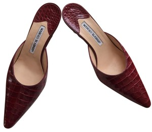 Manolo Blahnik Alligator Red Mules