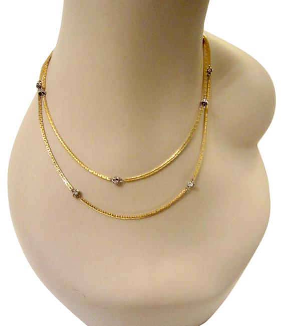 """Item - Gold Crystal Station 36"""" Delicate Plated Signed Necklace"""