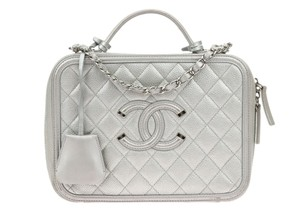 7d3d5b655ad0 Added to Shopping Bag. Chanel Chanel Metallic Silver Caviar CC Filigree  Large Vanity Case