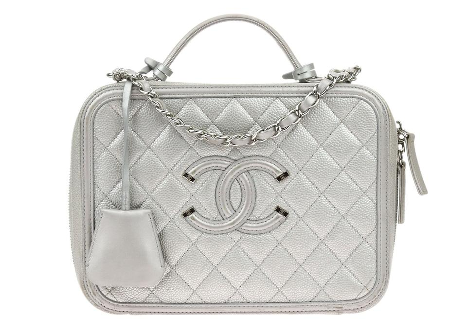 ba9911f813496a Chanel Chanel Metallic Silver Caviar CC Filigree Large Vanity Case Image 0  ...