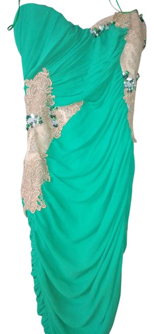Item - Green Tan Draped Mid-length Night Out Dress Size 6 (S)