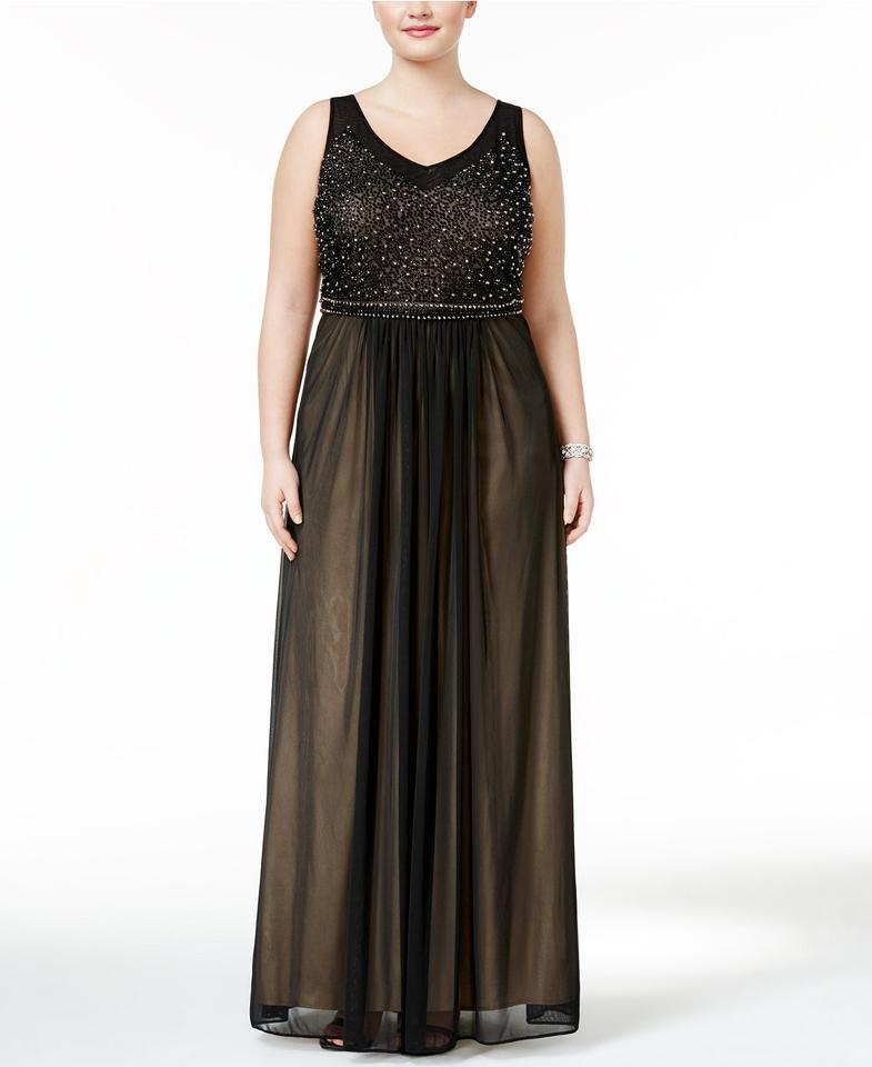 Xscape Black Beaded Mesh Gown Nude 20w Long Formal Dress Size 20