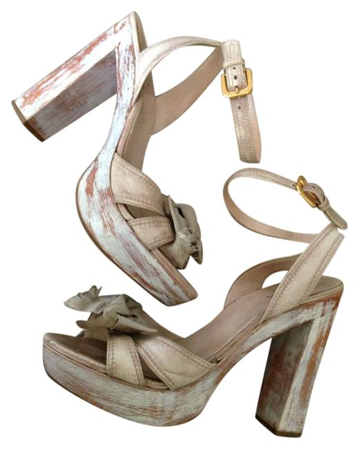 Item - White/Beige Painted Wood Sandals Size EU 39 (Approx. US 9) Regular (M, B)